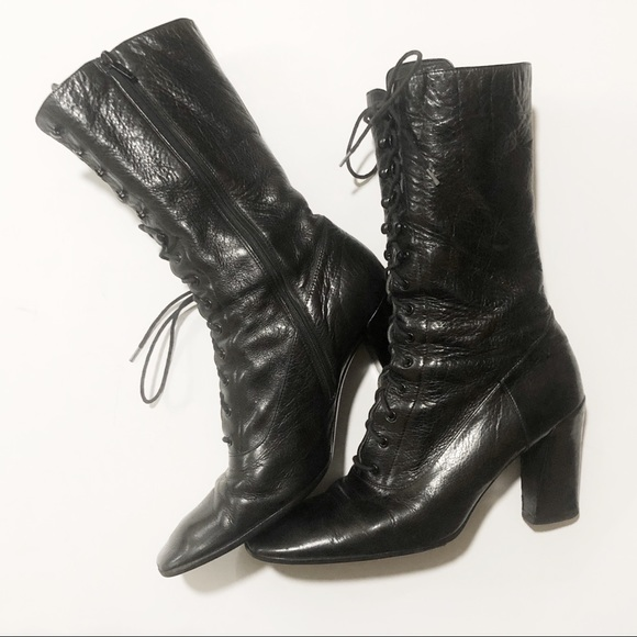 ShoesBy Granny 9 Up Miu Poshmark Leather Boots Prada Lace Nw8nm0